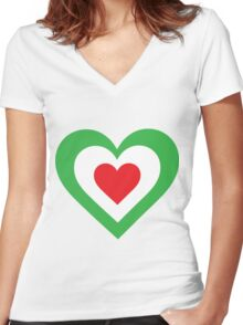 Italian Heart Women's Fitted V-Neck T-Shirt