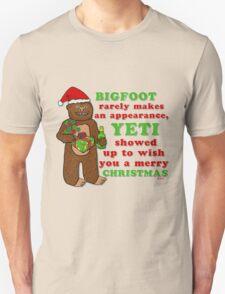 Funny Christmas Bigfoot Yeti Pun Cartoon T-Shirt