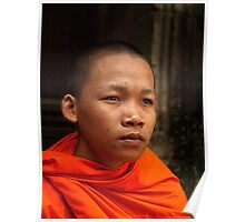 Buddhist Monk at Bayon Temple Poster