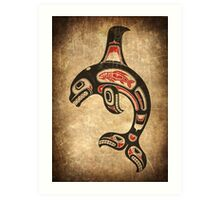 Red and Black Haida Spirit Killer Whale Art Print