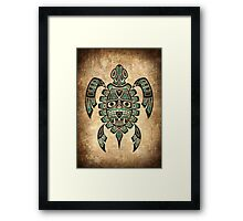 Teal Blue and Black Haida Spirit Sea Turtle Framed Print