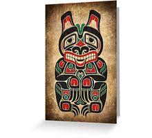 Red and Green Haida Spirit Bear Greeting Card