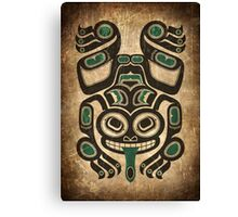 Teal Blue and Black Haida Spirit Tree Frog Canvas Print