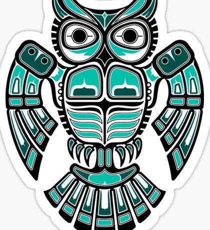 Teal Blue Haida Spirit Owl Sticker
