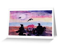 Gathering by the fire on beach, watercolor Greeting Card
