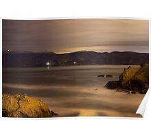 Golden Gate strait at night Poster