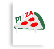 pizza dripping italy flag colors cheese salami slices piece Canvas Print