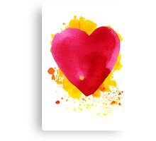 Watercolor  red heart Canvas Print