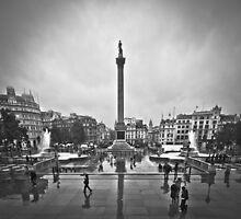 Trafalgar Square B&W by Thamer Al-Hassan