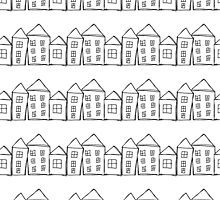 Houses . Hand drawn pattern by elenm