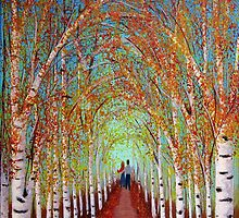 Autumn Birch trees by maggie326