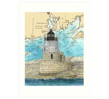 Castle Hill Lighthouse RI Nautical Chart Cathy Peek Art Print