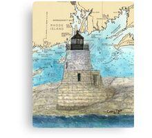 Castle Hill Lighthouse RI Nautical Chart Cathy Peek Canvas Print