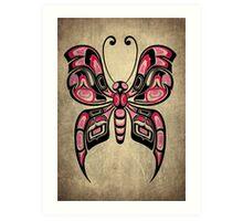 Pink and Black Haida Spirit Butterfly Art Print