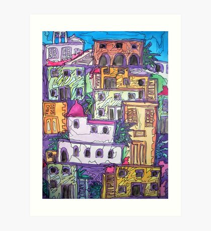 Greek Buildings, water colour & pen Art Print