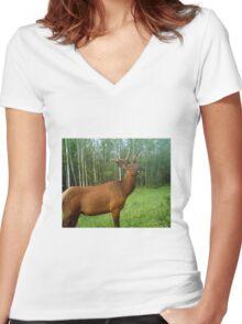 Bull Elk in Velvet Women's Fitted V-Neck T-Shirt