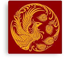 Traditional Yellow Chinese Phoenix Circle Canvas Print