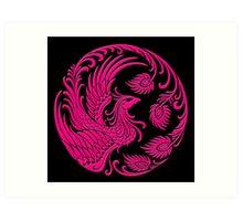 Traditional Pink Chinese Phoenix Circle Art Print