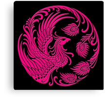 Traditional Pink Chinese Phoenix Circle Canvas Print