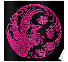 Traditional Pink Chinese Phoenix Circle Poster