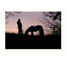 Man and his horse Art Print