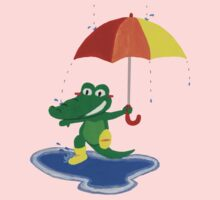 Cute crocodile under the rain Baby Tee