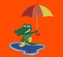 Cute crocodile under the rain Kids Tee