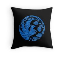 Traditional Blue Chinese Phoenix Circle Throw Pillow