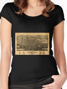 Panoramic Maps Bird's eye view of Butte-City Montana county seat of Silver Bow Co 1884 Women's Fitted Scoop T-Shirt