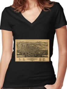 Panoramic Maps Bird's eye view of Butte-City Montana county seat of Silver Bow Co 1884 Women's Fitted V-Neck T-Shirt