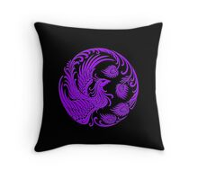 Traditional Purple Chinese Phoenix Circle Throw Pillow