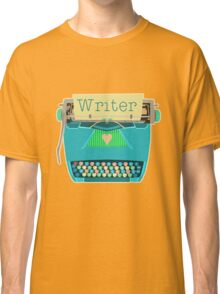 Retro Typewriter for Writers Mid-Century Modern Aqua Blue Classic T-Shirt