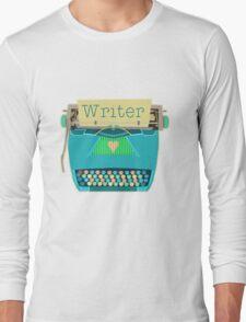 Retro Typewriter for Writers Mid-Century Modern Aqua Blue Long Sleeve T-Shirt