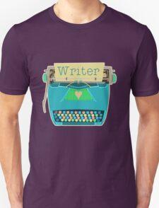 Retro Typewriter for Writers Mid-Century Modern Aqua Blue T-Shirt