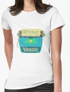 Retro Typewriter for Writers Mid-Century Modern Aqua Blue Womens Fitted T-Shirt