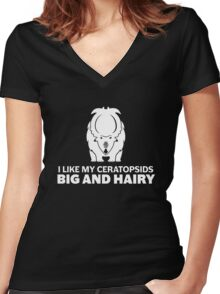 I Like My Ceratopsids Big and Hairy (white on dark) Women's Fitted V-Neck T-Shirt