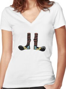 Cool Cute Funny Clown Feet Women's Fitted V-Neck T-Shirt