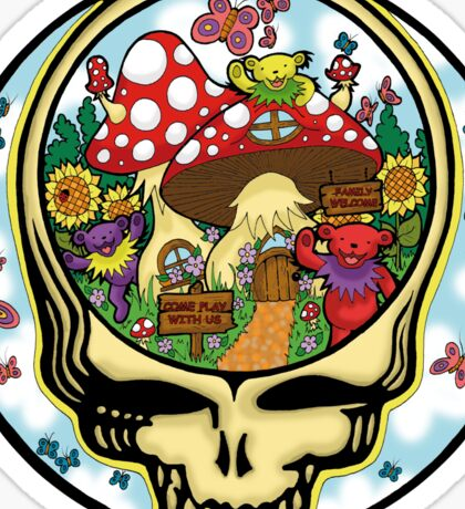 Grateful Dead - Steal Your Face, Dancing Bears and Mushrooms Sticker