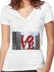 Love Park Women's Fitted V-Neck T-Shirt