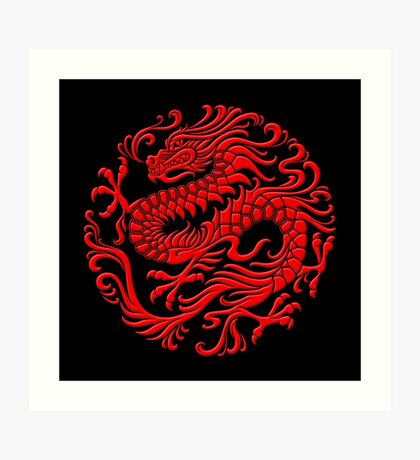 Traditional Red Chinese Dragon Circle Art Print