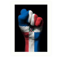 Flag of Dominican Republic on a Raised Clenched Fist  Art Print