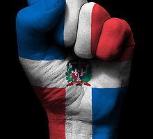 Flag of Dominican Republic on a Raised Clenched Fist  by Jeff Bartels