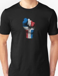 Flag of Dominican Republic on a Raised Clenched Fist  Unisex T-Shirt
