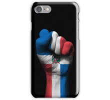 Flag of Dominican Republic on a Raised Clenched Fist  iPhone Case/Skin