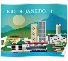 Rio de Janeiro, Brazil - Skyline Illustration by Loose Petals Poster
