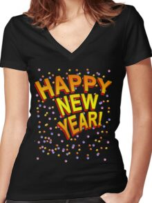 Happy New Year in Festive Colors Women's Fitted V-Neck T-Shirt