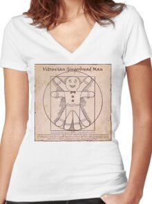 Vitruvian Gingerbread Man Women's Fitted V-Neck T-Shirt