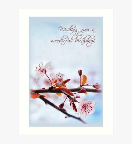 Happy Birthday - Cherry Blossoms (Card) Art Print