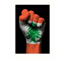 Flag of Lebanon on a Raised Clenched Fist  Art Print