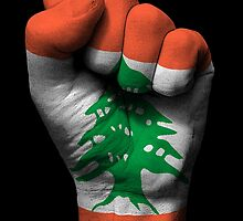 Flag of Lebanon on a Raised Clenched Fist  by Jeff Bartels